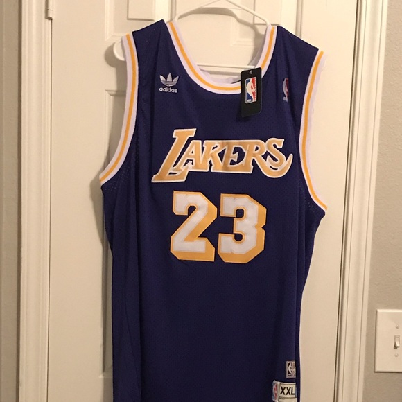 size 40 9132a 200c0 Authentic Lebron James Throwback Lakers Jersey!XXL NWT